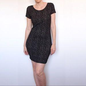 SEED Black Animal Print Bodycon Mini Dress Size S